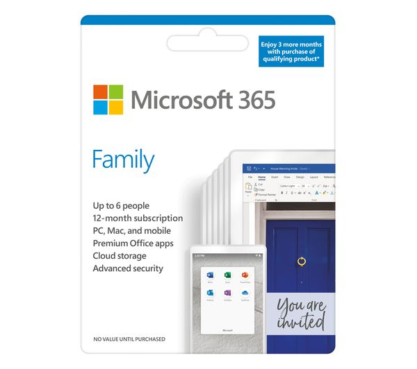 Image of MICROSOFT 365 Family - 1 year for 6 users + 3 Months Extra Time