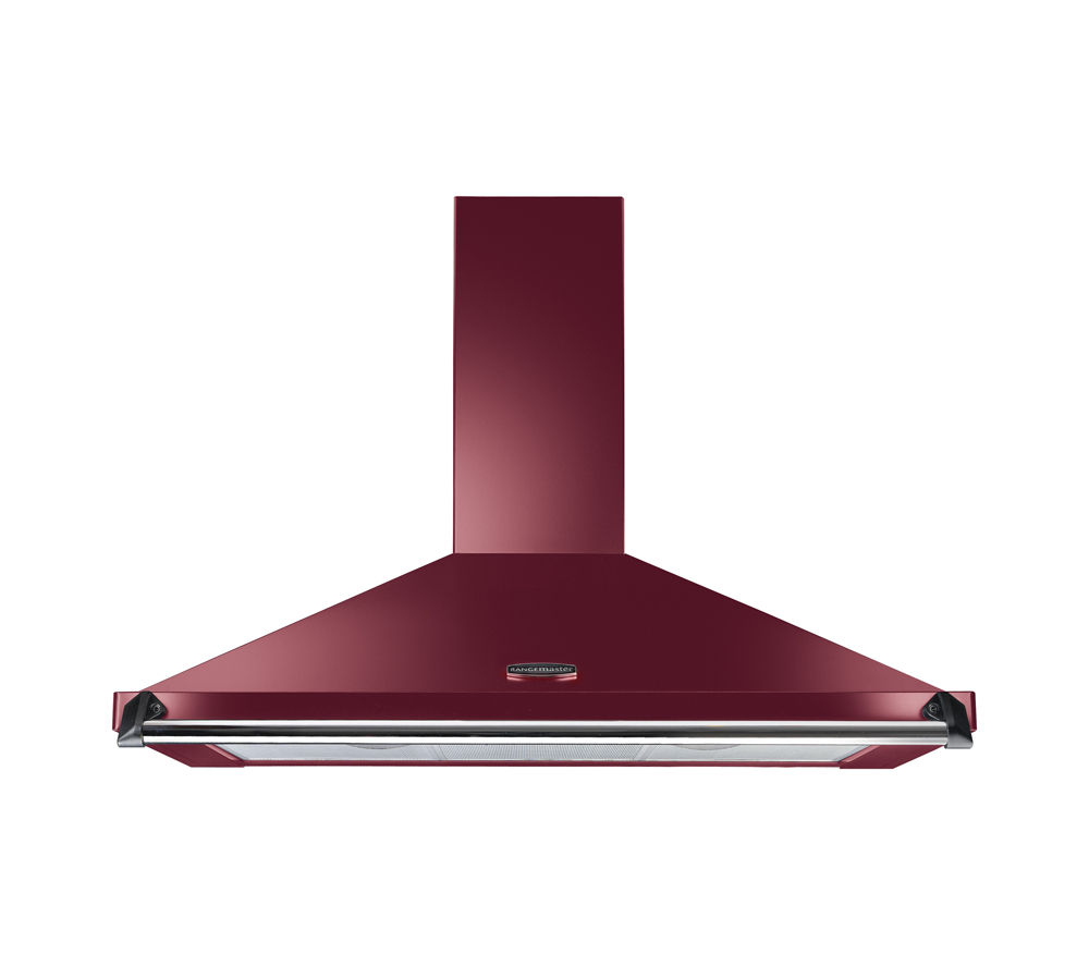 Image of Rangemaster CLAHDC90CY/C Chimney Cooker Hood - Cranberry & Chrome, Cranberry