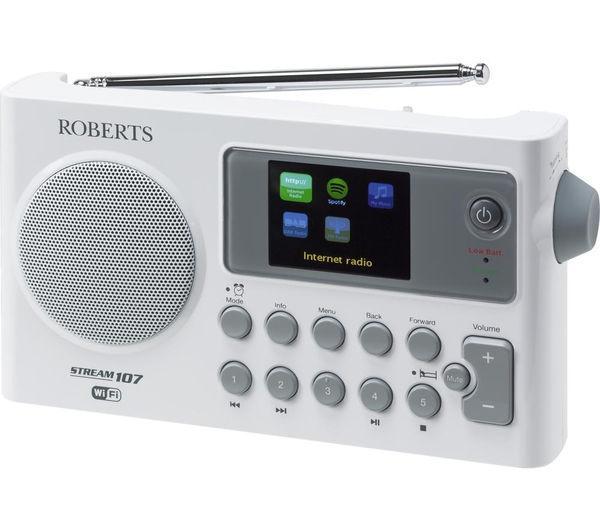 Image of ROBERTS Stream 107 Portable DAB+/FM Smart Radio - White & Grey