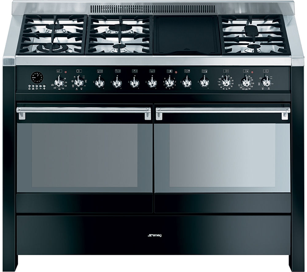 Image of SMEG Opera A4BL-8 120 cm Dual Fuel Range Cooker - Black & Stainless Steel, Stainless Steel
