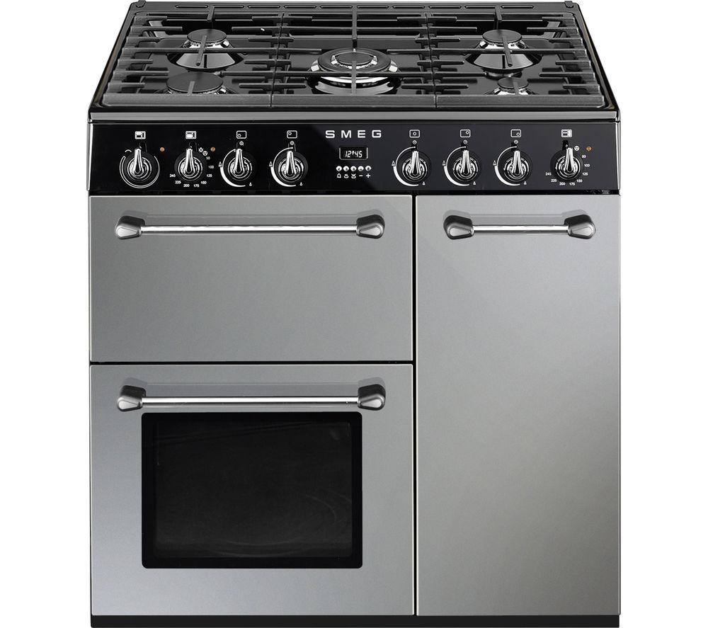 buy smeg blenheim 90 cm dual fuel range cooker silver black free delivery currys. Black Bedroom Furniture Sets. Home Design Ideas
