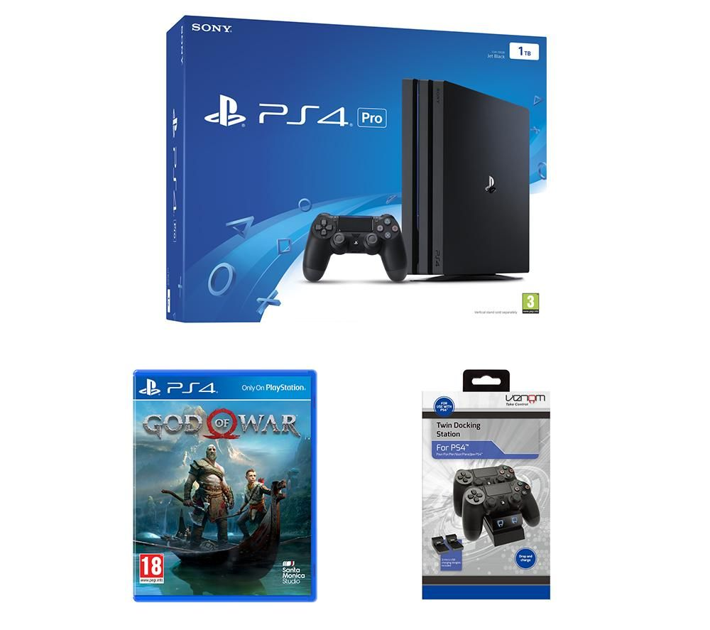 PlayStation 4 Pro, God of War & Docking Station Bundle, Red