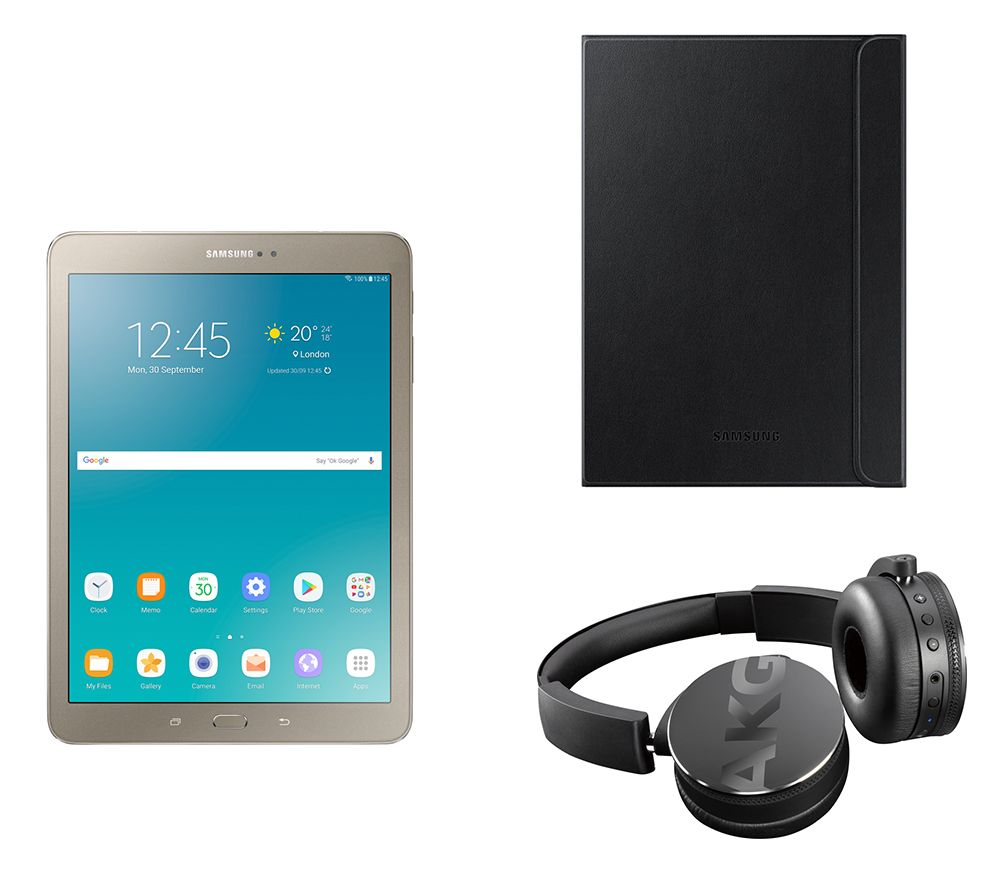 "Image of SAMSUNG Galaxy Tab S2 9.7"" Tablet, C50BT Wireless Bluetooth Headphones & Galaxy Tab S2 Folio Case Bundle - 32 GB, Gold, Gold"