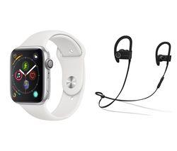 APPLE Watch Series 4 & Beats Powerbeats3 Wireless Bluetooth Headphones Bundle - Silver & White Sports Band, 44 mm