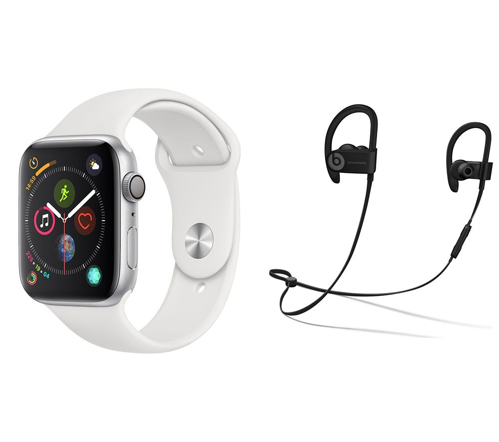 APPLE Watch Series 4 & Beats Powerbeats3 Wireless Bluetooth Headphones Bundle - Silver & White Sports Band, 44 mm, Silver cheapest retail price