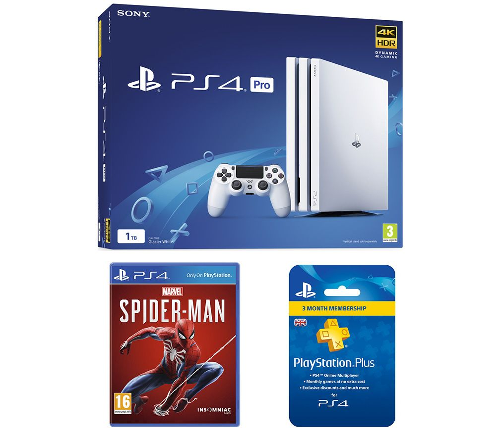 SONY PlayStation 4 Pro, Marvels Spider-Man & Plus 3 Month Subscription Bundle