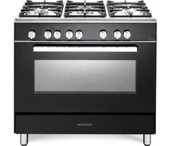 KENWOOD CK306 90 cm Dual Fuel Range Cooker - Black & Chrome