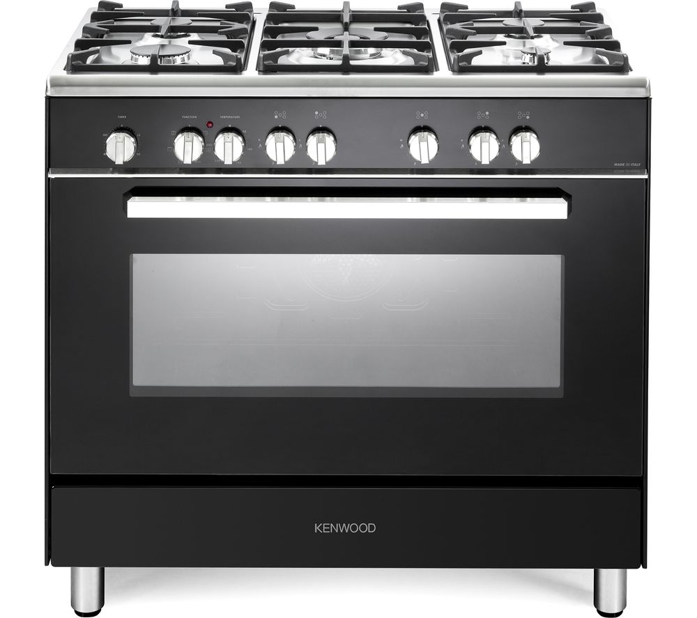 KENWOOD CK306 90 cm Dual Fuel Range Cooker - Black & Chrome, Black