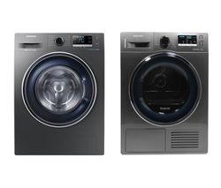 SAMSUNG DV90M50003X/EU 9 kg Heat Pump Tumble Dryer & ecobubble WW90J5456FX 9 kg 1400 Spin Washing Machine Bundle
