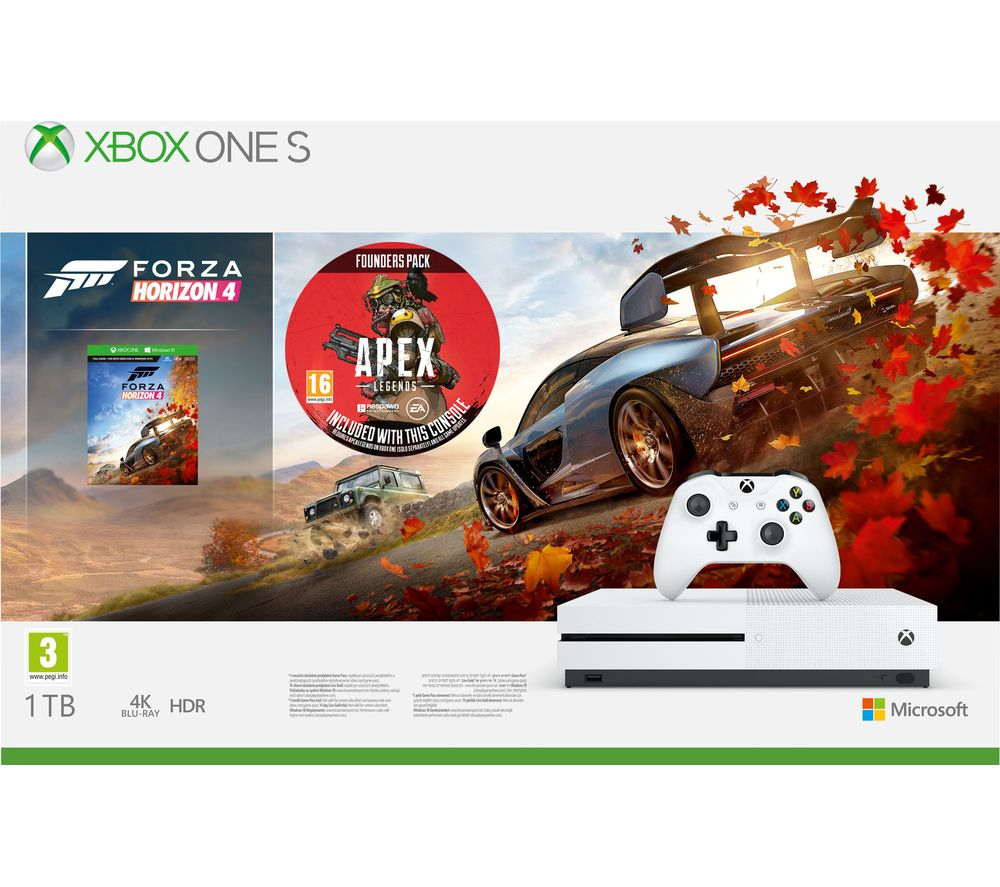 MICROSOFT Xbox One S with Forza Horizon 4 & Apex Legends