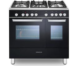 KENWOOD CK406 90 cm Dual Fuel Range Cooker - Black & Chrome