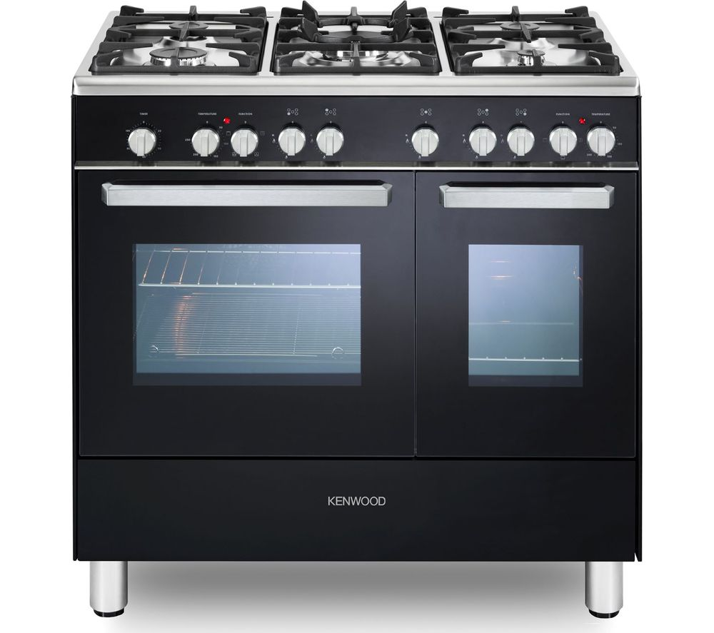 Image of CK406 90 cm Dual Fuel Range Cooker - Black & Chrome, Black