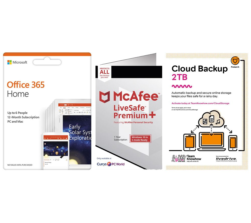 Image of MCAFEE LiveSafe Premium 2020, Microsoft Office 365 Home & Knowhow 2 TB Cloud Backup Bundle