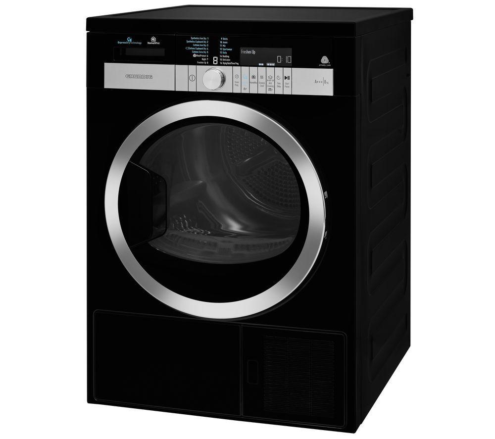 GRUNDIG GTN48267GCHB WiFi-enabled 8 kg Heat Pump Tumble Dryer - Black