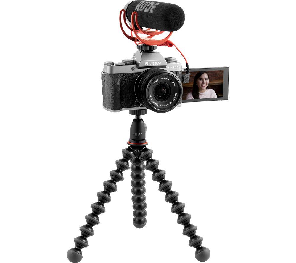 FUJIFILM X-T200 Mirrorless Camera Vlogger Kit with FUJINON XC 15-45 mm f/3.5-5.6 OIS PZ Lens - Dark Silver