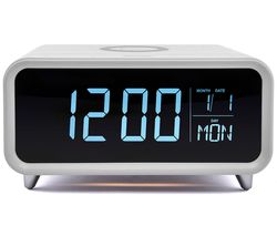 Athena Alarm Clock with Wireless Charger - White