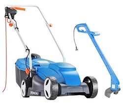 Corded Rotary Lawn Mower & Grass Trimmer Bundle - Blue