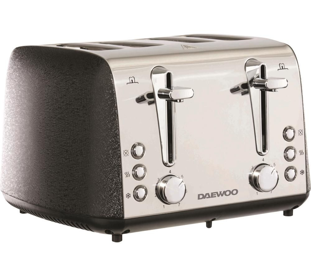 DAEWOO Glace Noir SDA2105 4-Slice Toaster - Black & Silver, Black