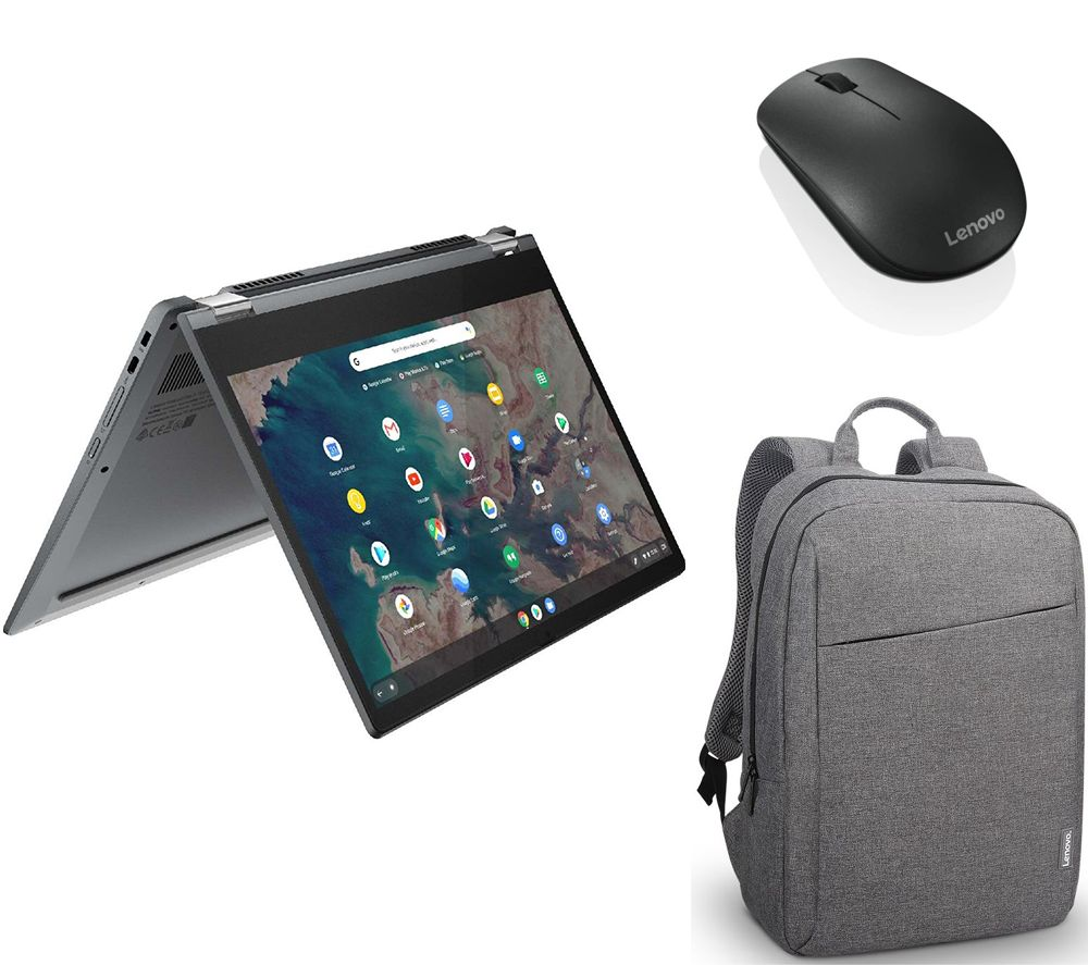 "Image of LENOVO IdeaPad Flex 5i 13.3"" 2 in 1 Chromebook, Backpack & Mouse Bundle - Intel®Core i3, 128 GB SSD, Grey, Grey"