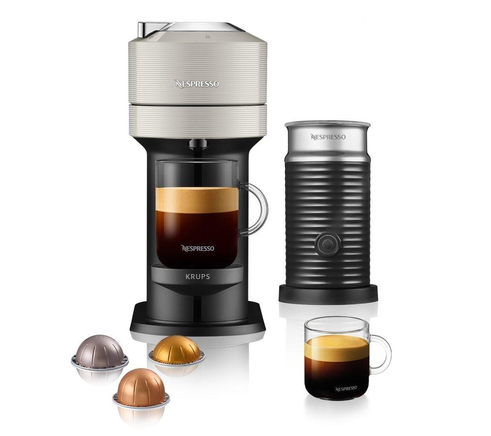 NESPRESSO by KRUPS Vertuo Next XN911B40 Coffee Machine with Aeroccino - Light Grey