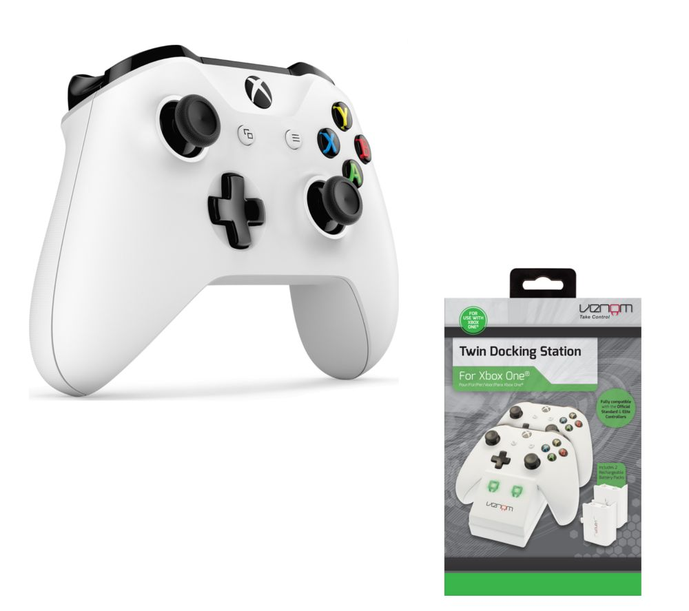 Image of MICROSOFT Xbox Wireless Controller & VS2859 Xbox One Twin Docking Station Bundle