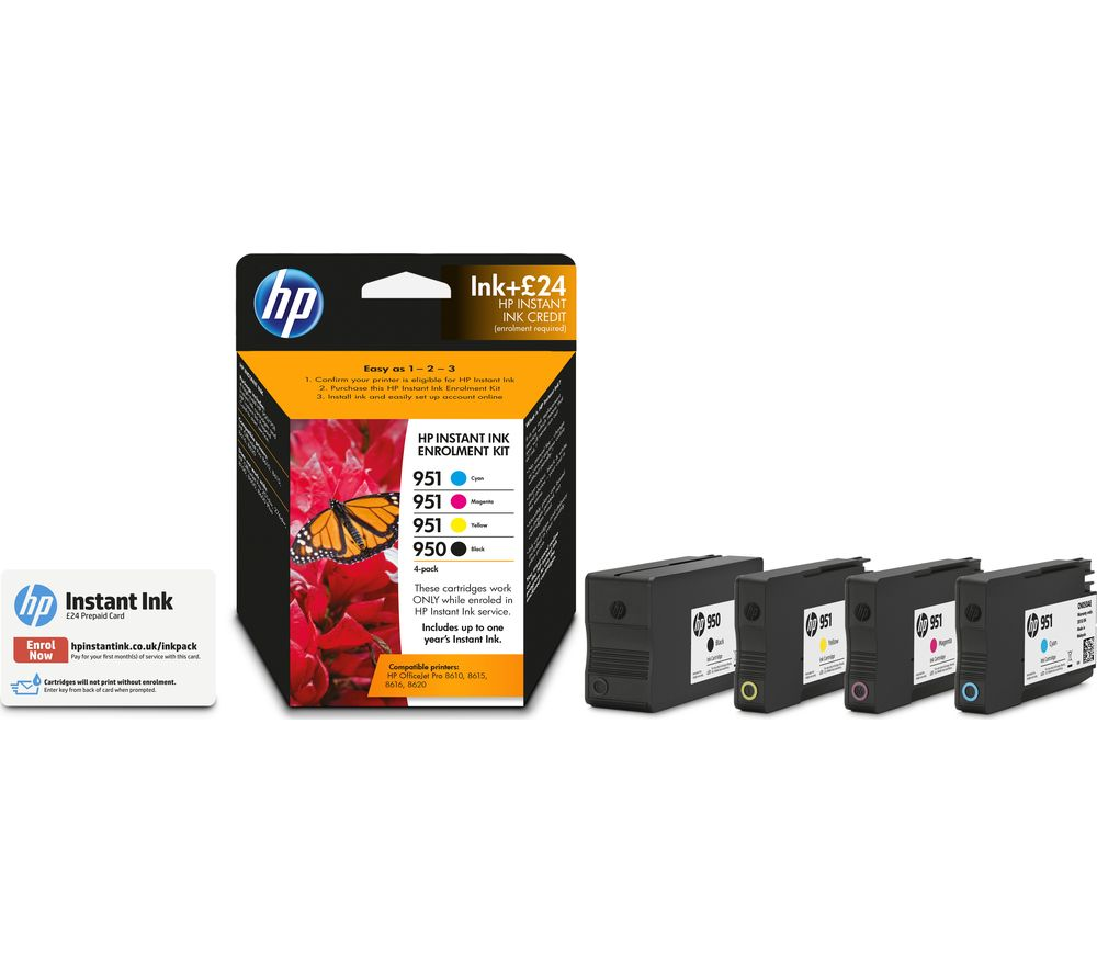 buy hp 950 951 cyan magenta yellow black ink with instant ink enrolment 24 credit free. Black Bedroom Furniture Sets. Home Design Ideas