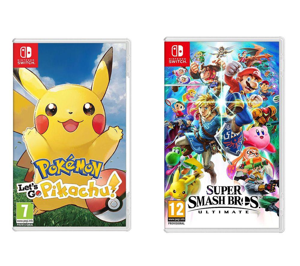 NINTENDO SWITCH Super Smash Bros. Ultimate & Pokemon: Let's Go, Pikachu! Bundle
