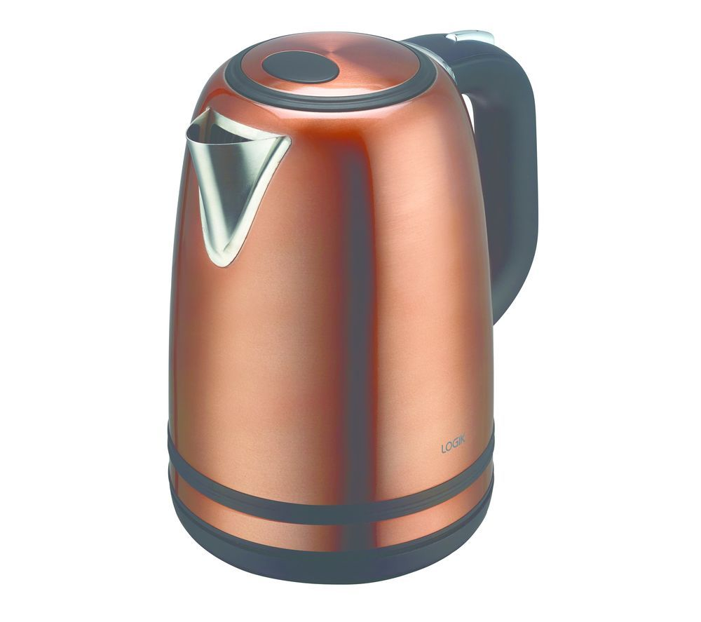 LOGIK L17SKCU19 Jug Kettle - Copper + L04TCU19 4-Slice Toaster - Copper & Silver