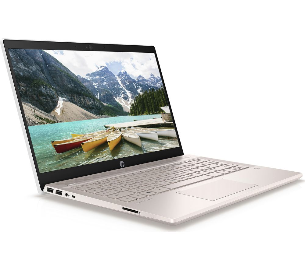 "HP Pavilion 14-ce0523sa 14"" Intel® Pentium™ Gold Laptop - 128 GB SSD, White & Gold"