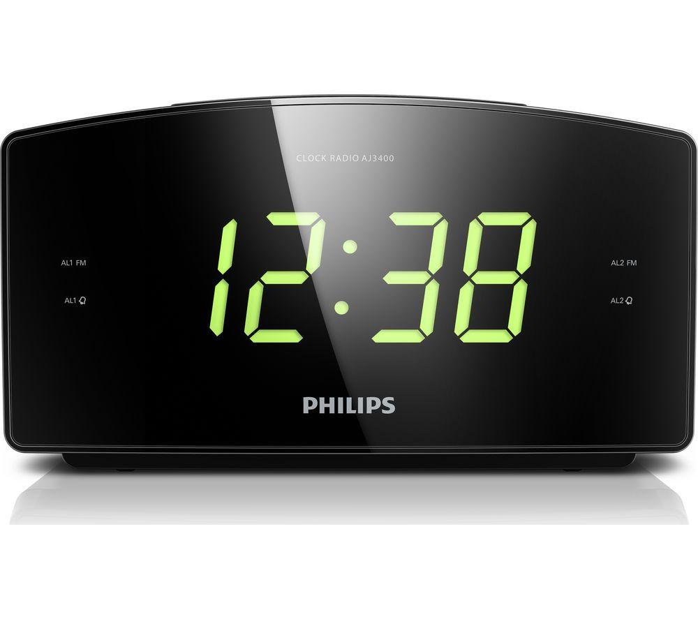 PHILIPS AJ3400/05 FM Clock Radio - Black