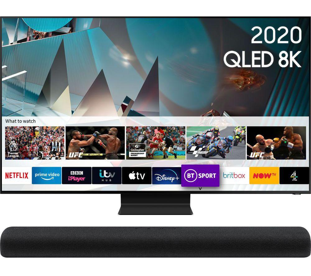 SAMSUNG QE82Q800TATXXU Smart 8K HDR QLED TV & HW-S60T/XU 4.0 All-in-One Sound Bar Bundle