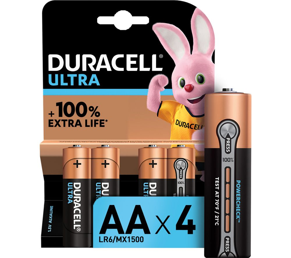 DURACELL LR6/MX1500 Ultra Power AA Alkaline Batteries - Pack of 4