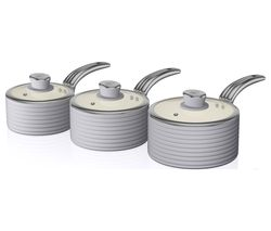 SWAN Retro SWPS3020GRN 3-piece Non-stick Saucepan Set - Grey