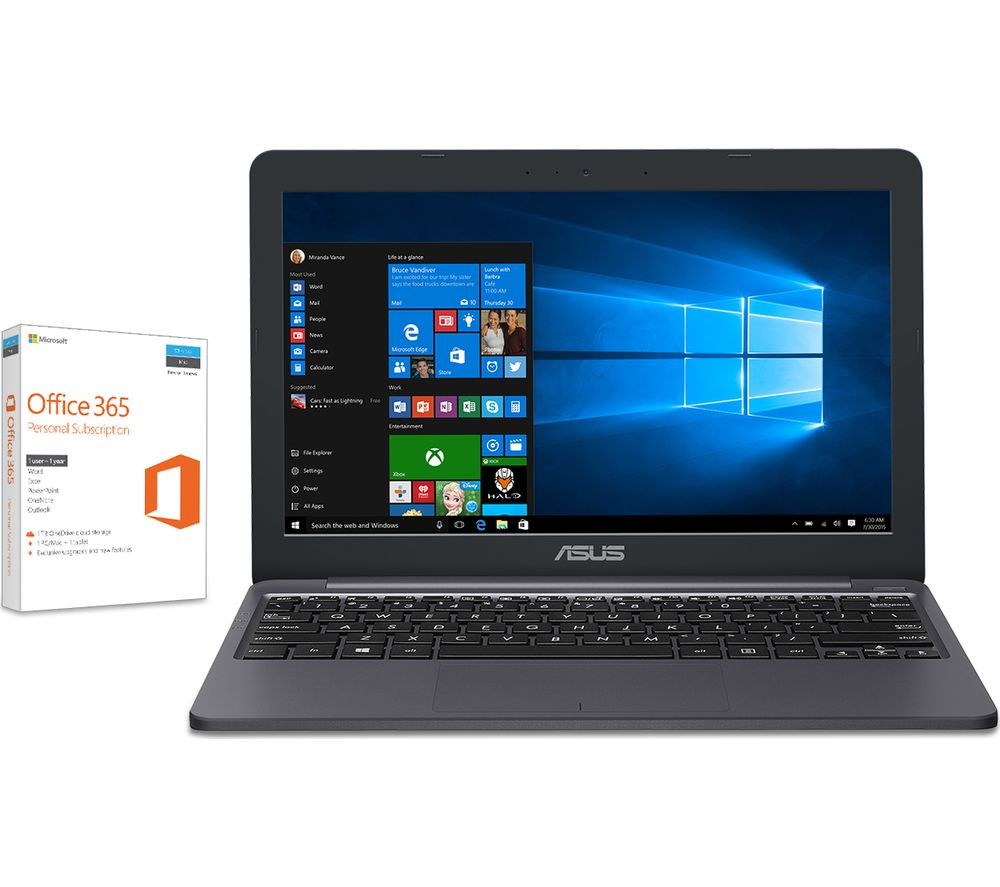 """ASUS VivoBook E203 11.6"""" Intel® Celeron® Laptop - 32 GB eMMC, Grey + Office 365 Home - 1 year for 5 users + LiveSafe Premium 2018 - 1 year for unlimited devices"""