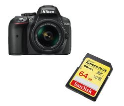 NIKON D5300 DSLR Camera with 18-55 mm f/3.5-5.6 Lens, Remote & Batteries - Black