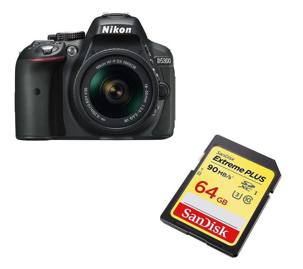 NIKON D5300 DSLR Camera, 18-55 mm f/3.5-5.6 Lens & 64 GB Memory Card Bundle