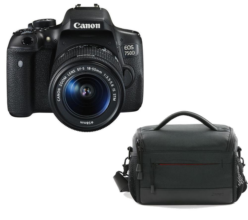 Image of CANON EOS 750D DSLR Camera, EF-S 18-55 mm f/3.5-5.6 IS STM Lens & ES100 DSLR Camera Bag Bundle