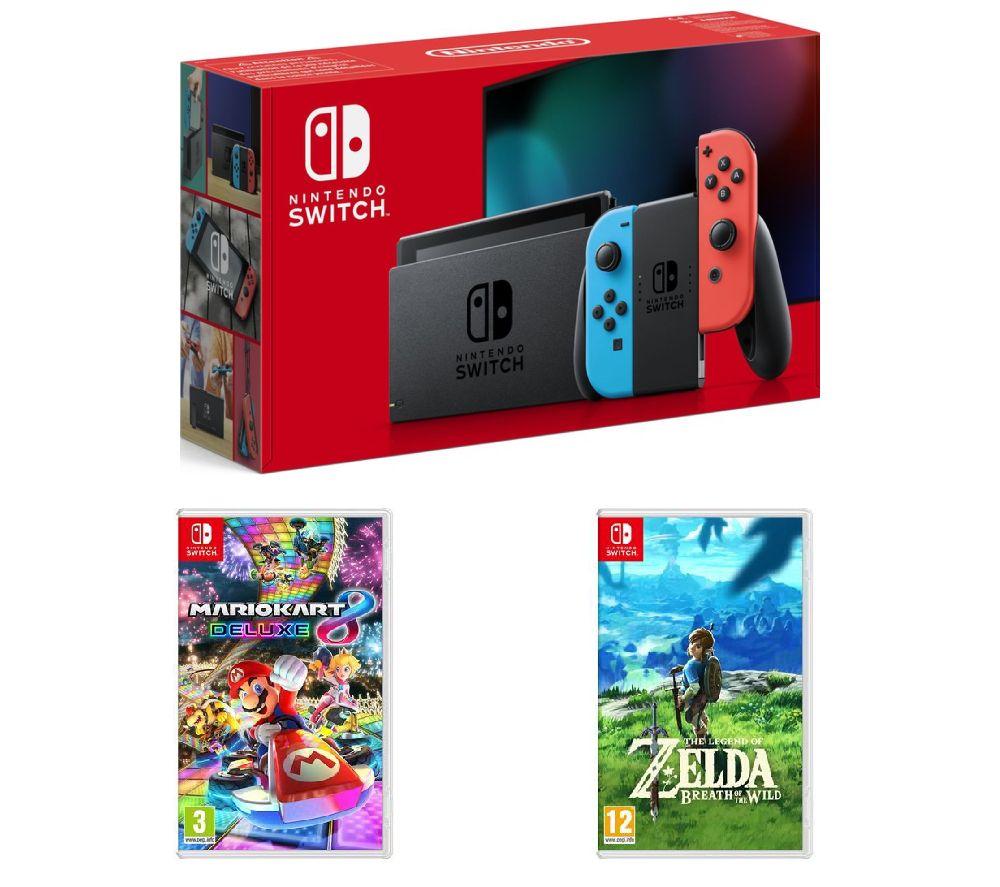 Buy Nintendo Switch Neon Red Mario Kart 8 The Legend Of Zelda Blue Bundle 2games 2amiibo Breath