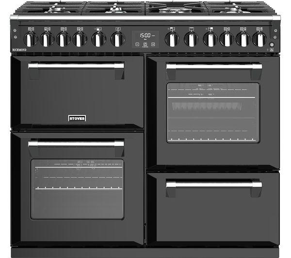 Image of STOVES Richmond S1000DF 100 cm Dual Fuel Range Cooker - Black