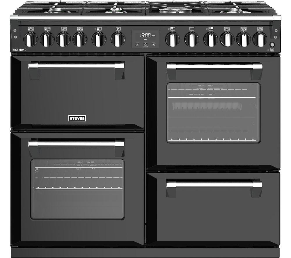 Image of STOVES Richmond S1000DF 100 cm Dual Fuel Range Cooker - Black, Black