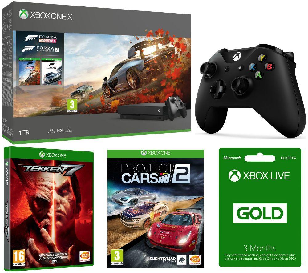 MICROSOFT Xbox One X, Forza Horizon 4, Forza Motorsport 7, Tekken 7,  Project Cars 2, 3 Months LIVE Gold & Wireless Controller Bundle