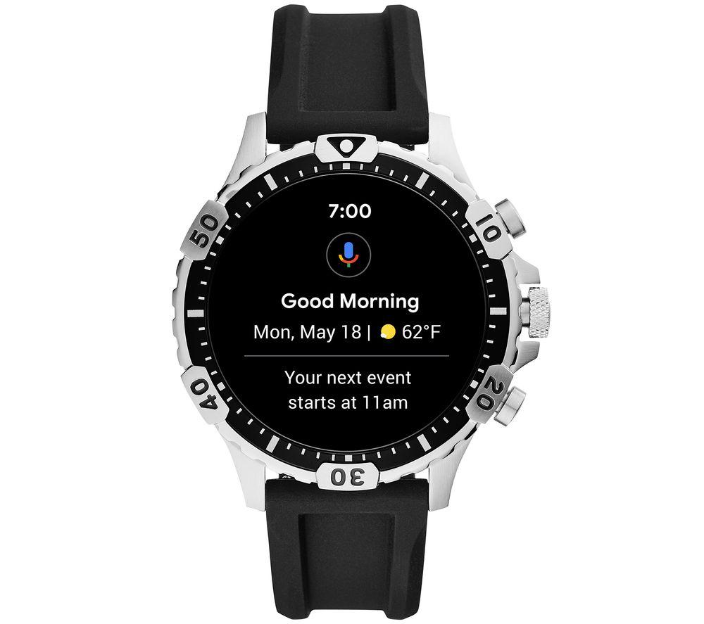 FOSSIL Garrett HR FTW4041 Smartwatch - Black, Silicone, 46 mm