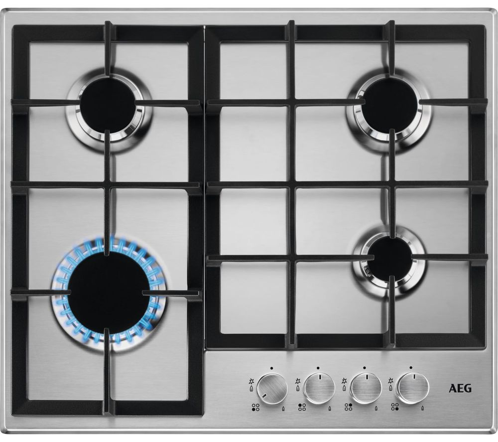 Image of AEG HGB64200SM Gas Hob - Stainless Steel, Stainless Steel
