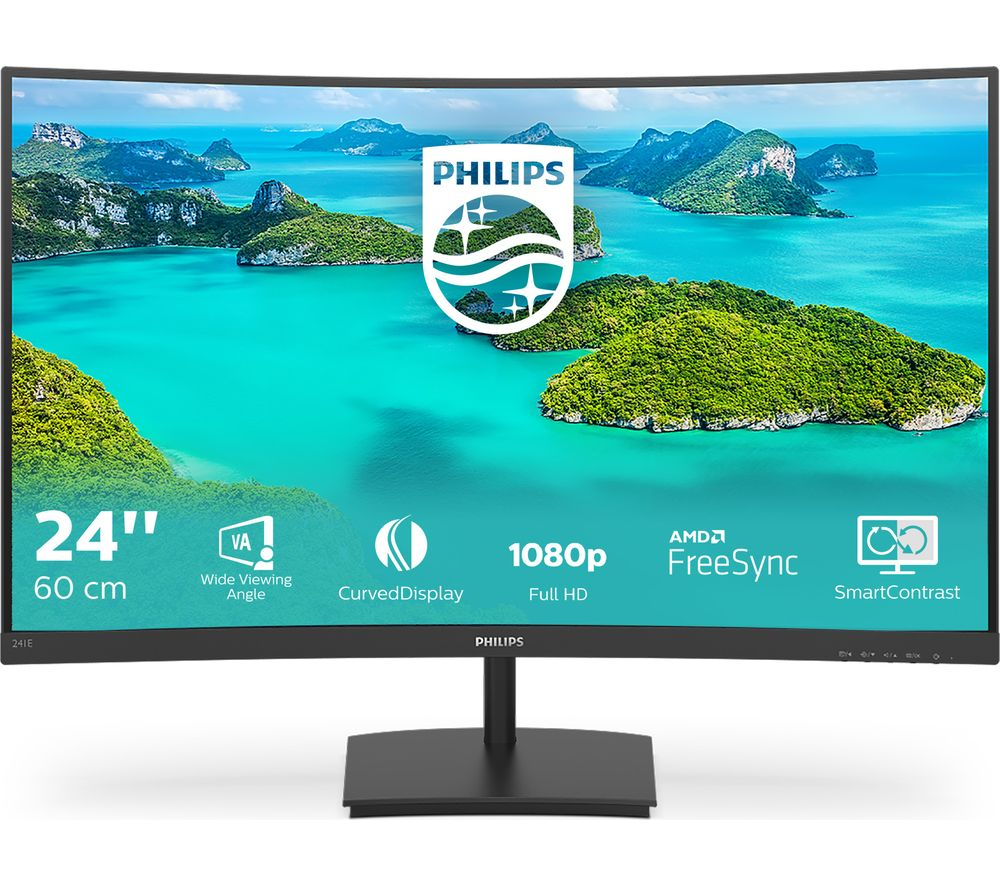 "PHILIPS 241E1SCA Full HD 24"" Curved VA LCD Monitor - Black"
