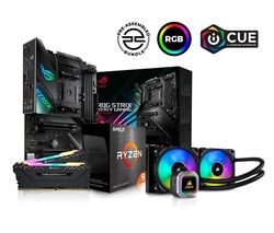 AMD Ryzen 9 Processor, ASUS ROG STRIX Motherboard, 16 GB RAM & Corsair RGB Cooler Components Bundle