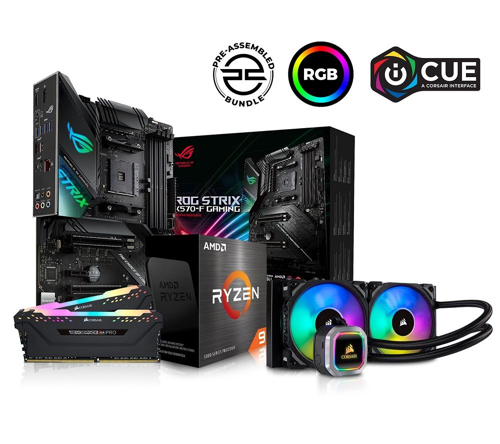 Image of PC SPECIALIST AMD Ryzen 9 Processor, ASUS ROG STRIX Motherboard, 16 GB RAM & Corsair RGB Cooler Components Bundle