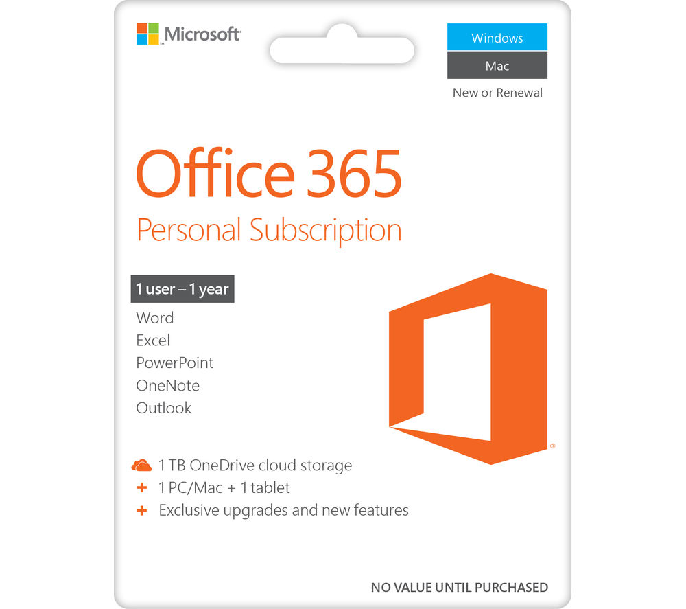 MICROSOFT Office 365 Personal - 1 year for 1 user