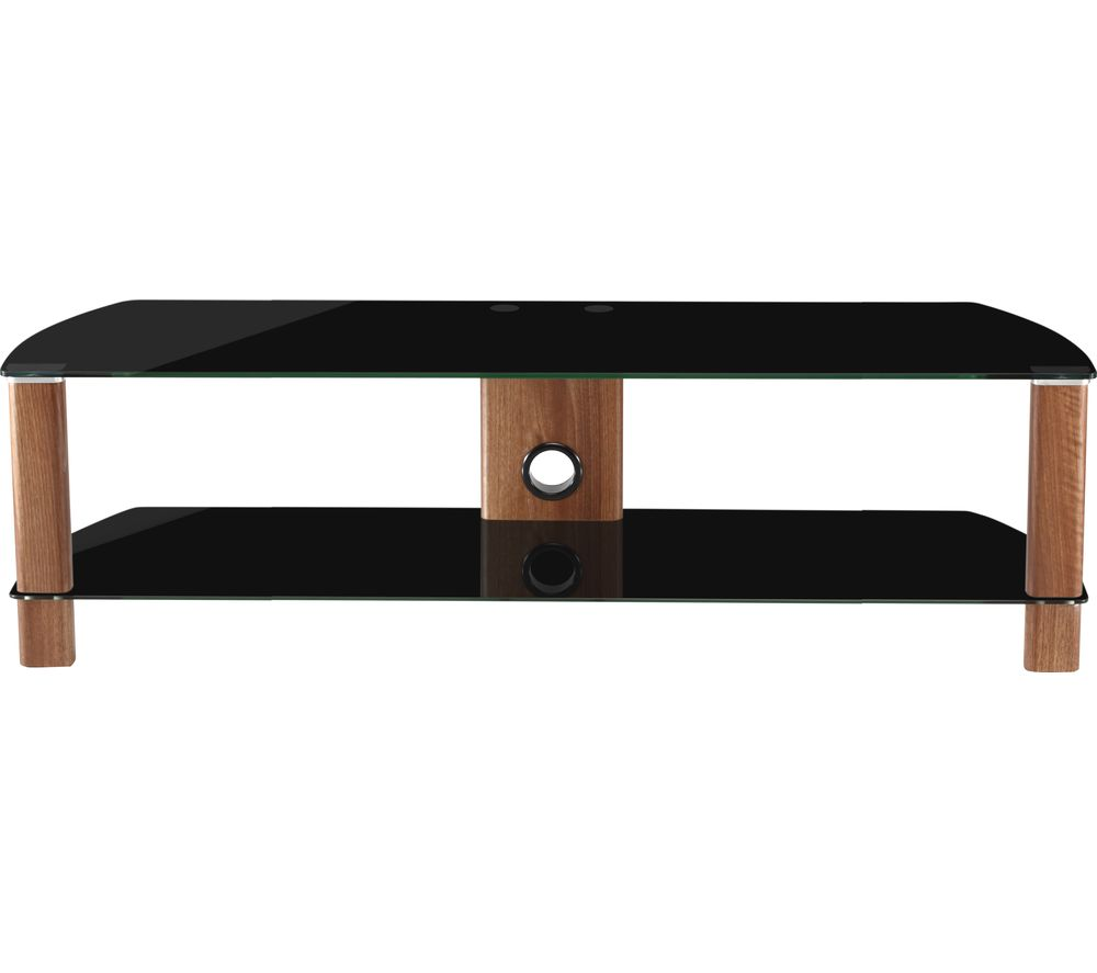 ALPHASON Century 1500 TV Stand - Walnut & Black Glass