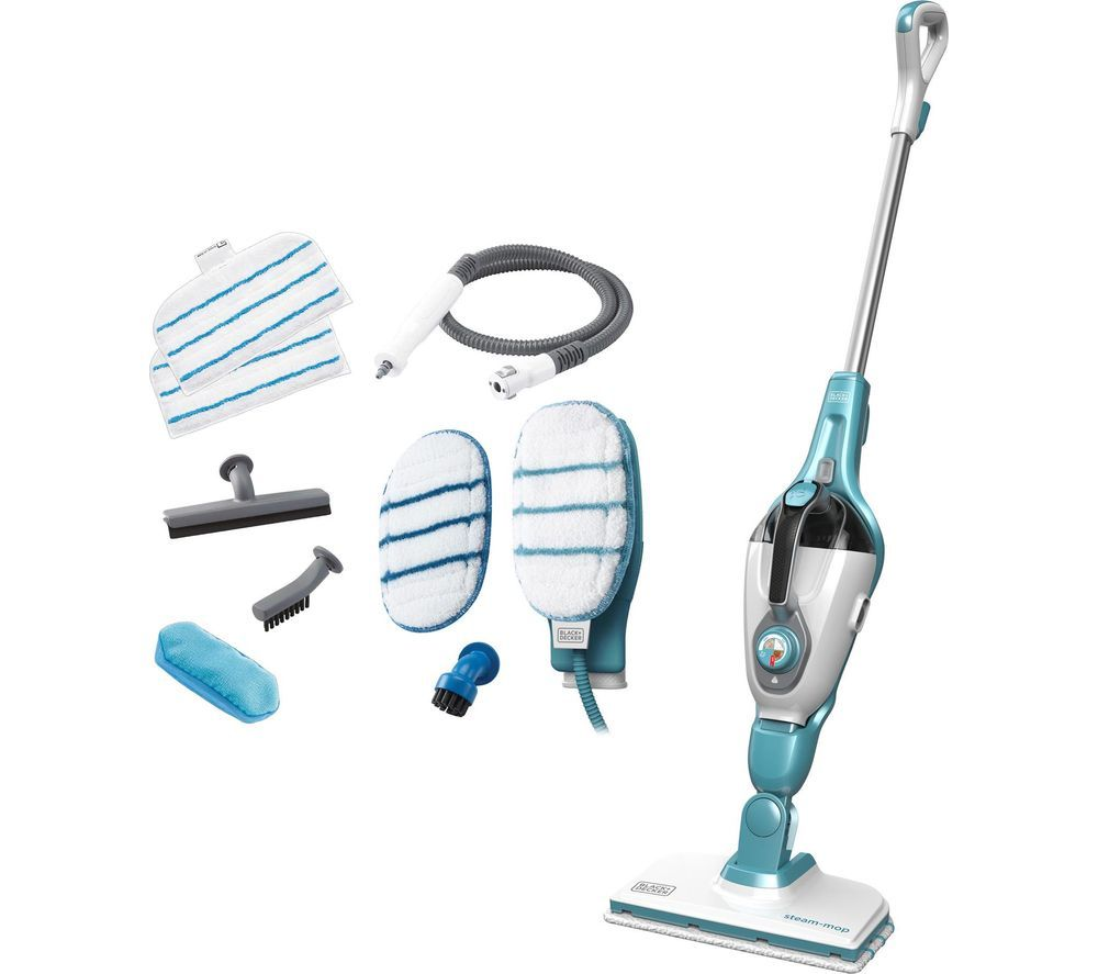 BLACK + DECKER FSMH1351SM-GB 9 in 1 Steam Mop - White & Aqua, Black