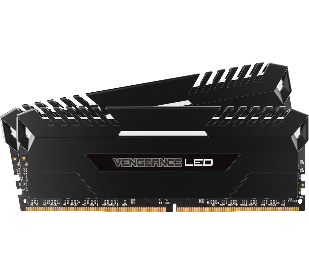 Image of CORSAIR Vengeance LED DDR4 2400 MHz PC RAM - 8 GB x 2, White
